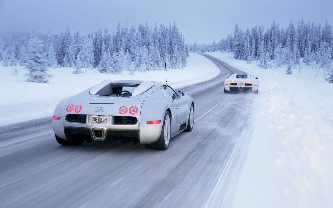 Bugatti Veyron vehicles cars exotic supercar landscapes nature winter snow blizzard trees forests roads track wallpaper