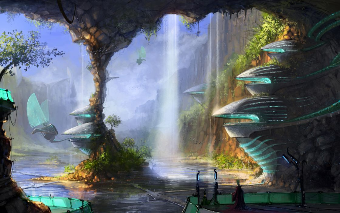 sci fi science fiction fantasy surreal art artistic paintings cg digital architecture cities buildings futuristic vehicles machines mech flight fly waterfalls landscapes rivers lakes nature cliff wallpaper