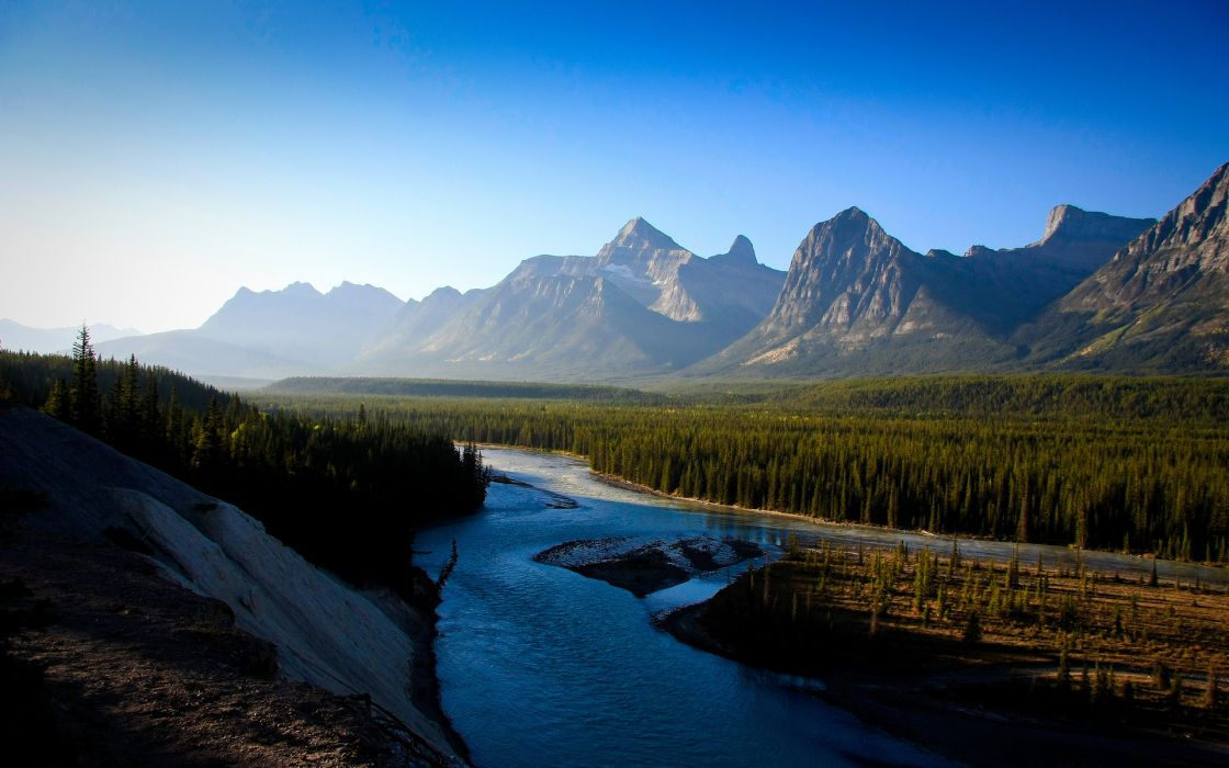 nature landscapes rivers trees forests mounatins sky scenic view wallpaper