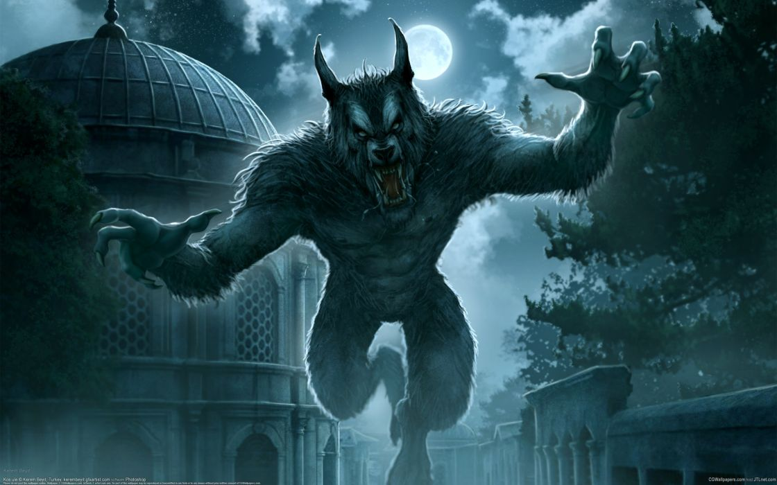 kerem beyit werewolf dark horror evil creepy spooky animals wolf wolves halloween architecture buildings night sky full moon moon light light trees clouds fangs pov fantasy wallpaper
