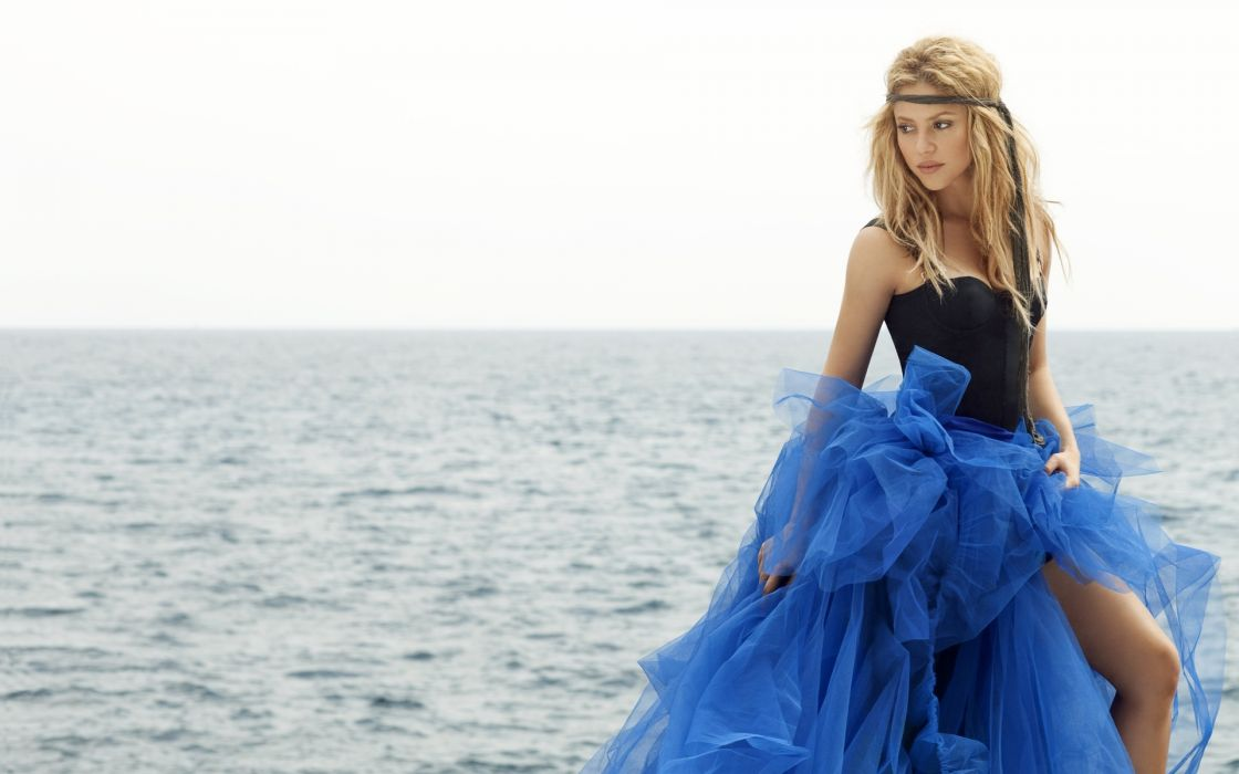 Shakira music singer bands groups musician blondes sexy sensual dress fashion style boobs cleavage breast face eyes lips look stare gown celebrities babes women females girls models ocean sea beaches sky wallpaper