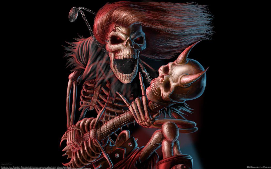 dark music reaper skeleton skull guitars evil scary spooky halloween horns fantasy bones scream smile grimace wallpaper