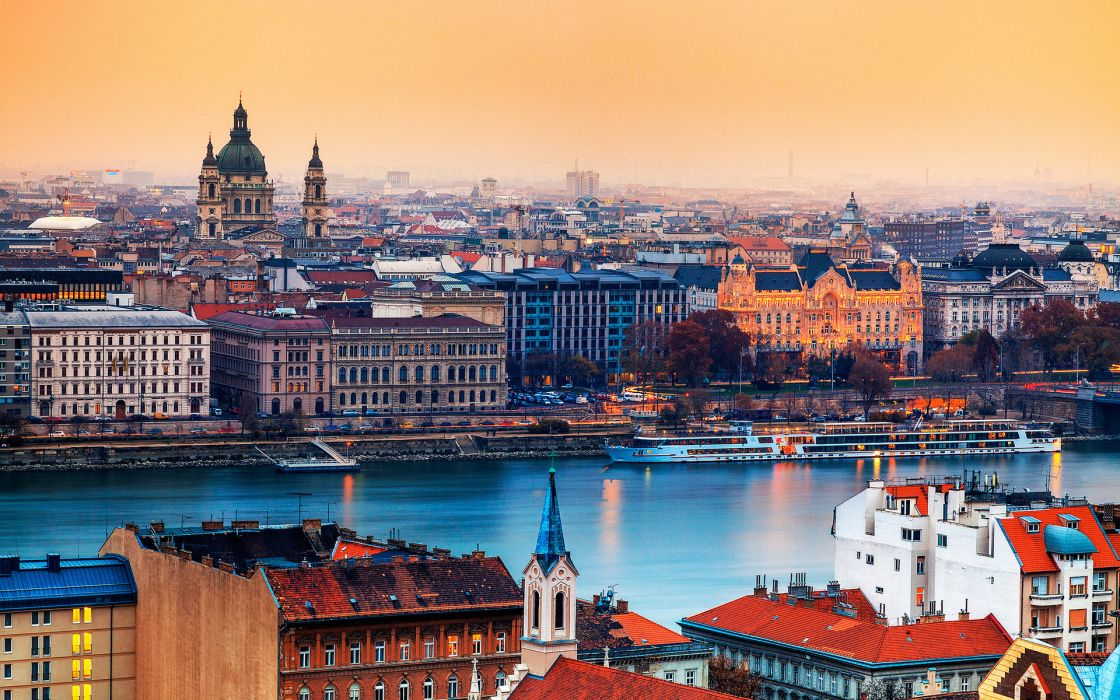 Hungary Budapest world cities skyline cityscape architecture buildings cathedral color detail sky rivers vehicles boats ships shore dock roof top sunset sunrise water palces wallpaper