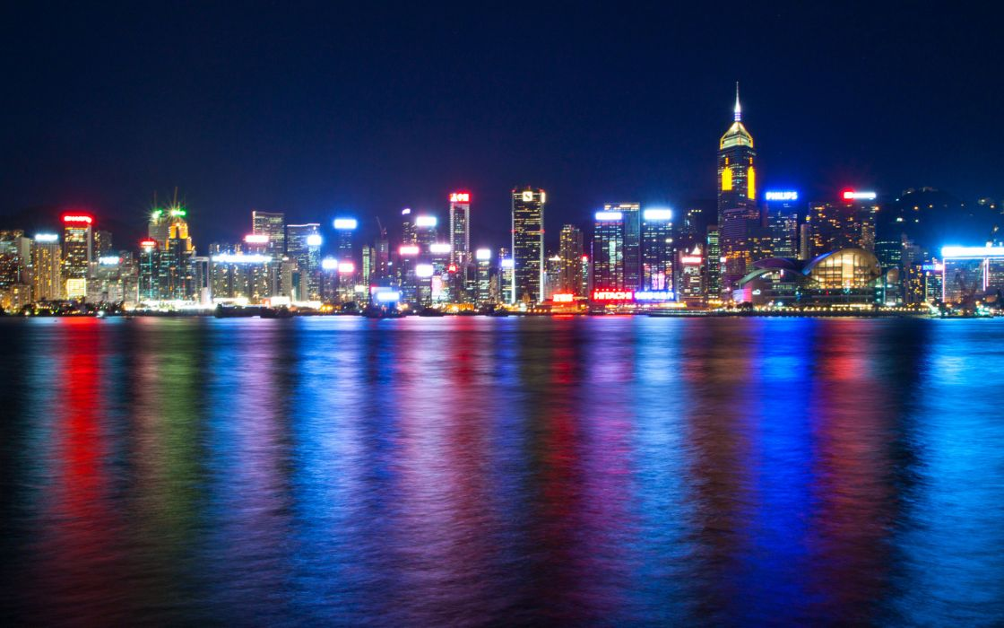 Hong Kong Harbour China harbor hdr water reflection color skyline cities city scape night lights architecture buildings skyscrapers sky scenic view panorama wallpaper