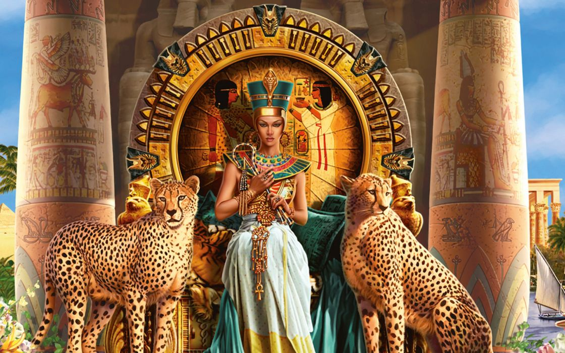 Cleopatra VII Philopator pharaoh Ancient Egypt Ptolemaic dynasty Egyptian animals cats cheetah throne color detail jewelry gold architecture buildings dress gown queen fantasy spots women females girls babes style wallpaper