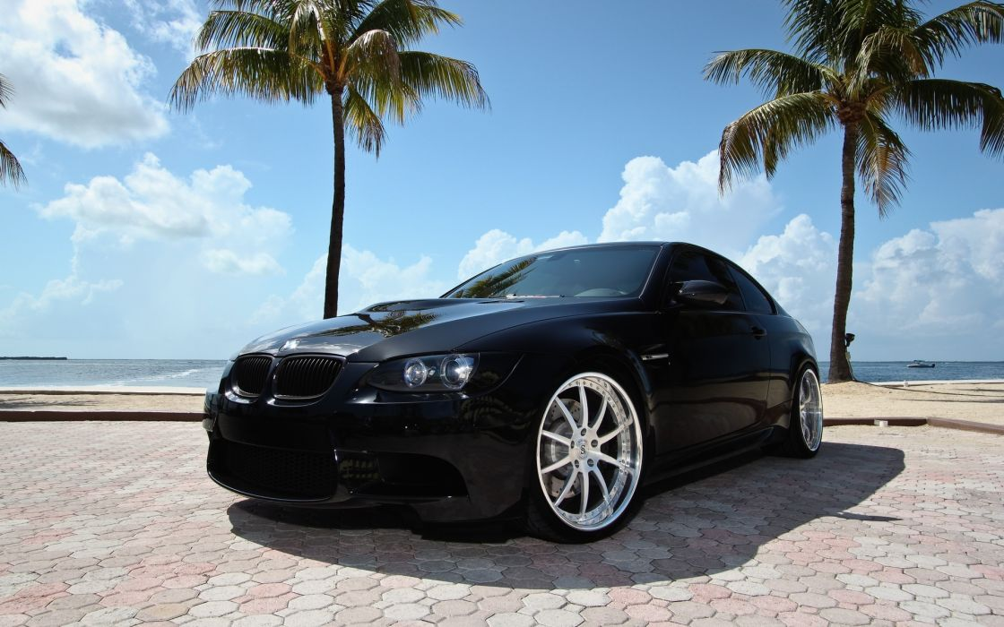 Strasse Forged 2011 BMW M3 vehicles cars wheels tuning roads ocean sea sky clouds palm trees black stance chrome aluminum wallpaper