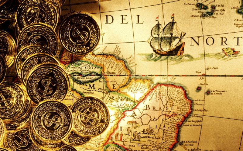 Bullion Gold coins money dollars ingots fantasy pirate maps ships detail paper islands land ocean sea sail direction shine world color degrees wallpaper