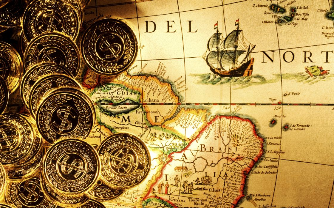 Bullion Gold coins money dollars ingots fantasy pirate maps ships detail paper islands land ocean sea sail direction shine world color degrees wallpaper