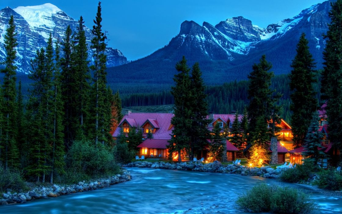 hdr landscapes nature rivers mountians trees forests sky night evening lights window scenic view snow peaks architecture buildings resort vacation color bright wallpaper