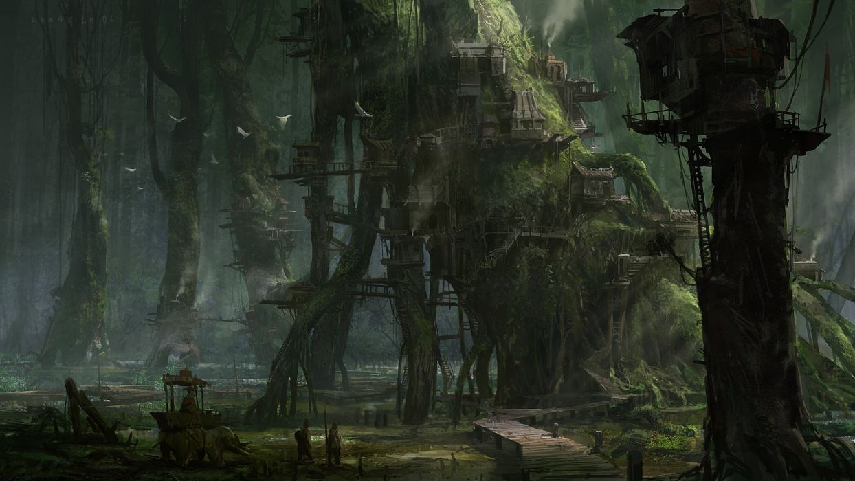 Khang Le nature landscapes trees forests fantasy world dark fog mist haze detail architecture buildings houses moss art artistic paintings village town people animals birds doves soft places magic mystical mythical wallpaper