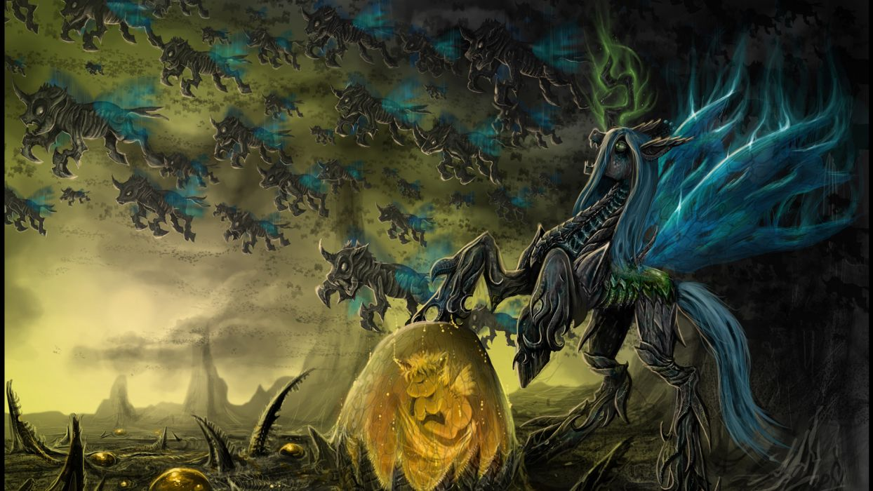 My Little Pony art artistic paintings fantasy children dragon monster creature wings dark animals horses magic army landscapes spooky creepy invasion mountains lightning magic wallpaper