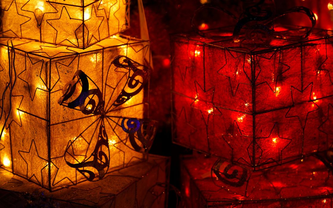 holidays christmas new year lights colors contrast artistic bow wallpaper