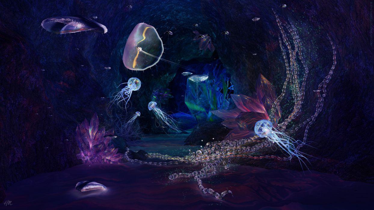 Jellyfish sealife underwater fishes colors art artistic cg digital 3d ocean sea water liquid wet plants magic wallpaper