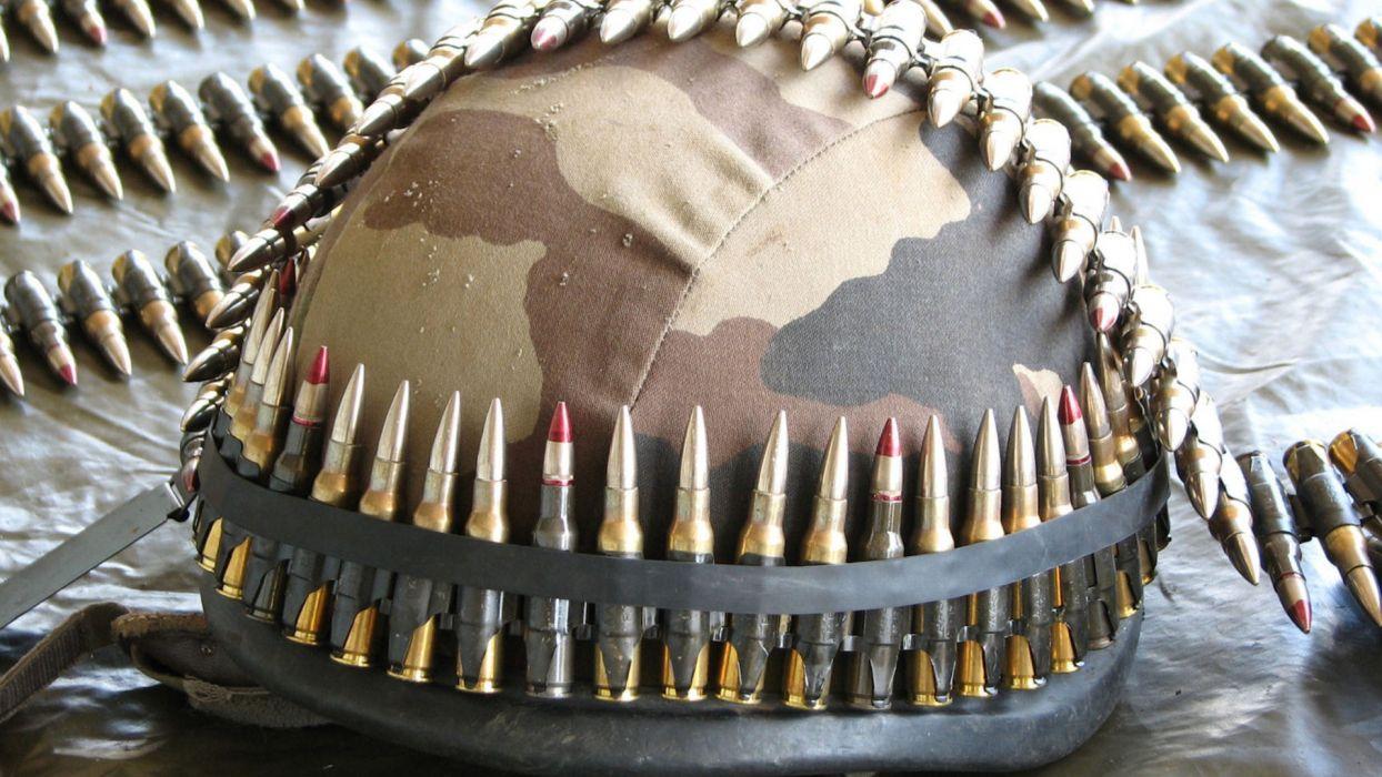 ammunition belts ammo bullets helmet camo brass cartridge military warrior soldier weapons guns photography wallpaper