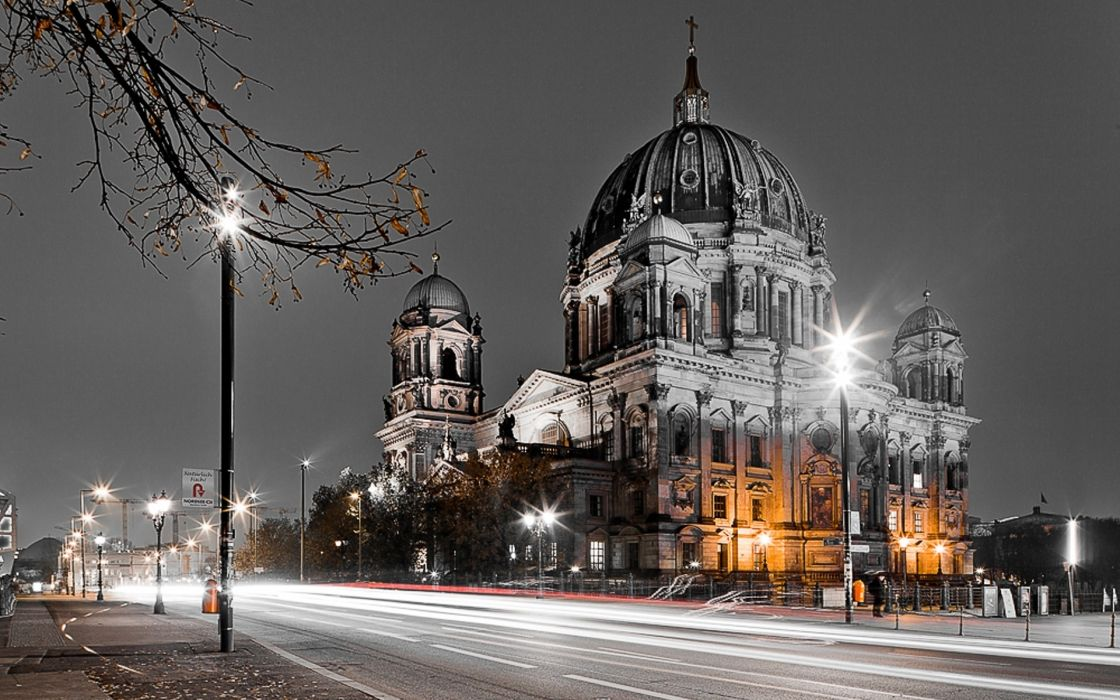 Berlin Germany timelapse architecture buildings roads traffic vehicles cars brake lights night lapse hdr lamp bright wallpaper