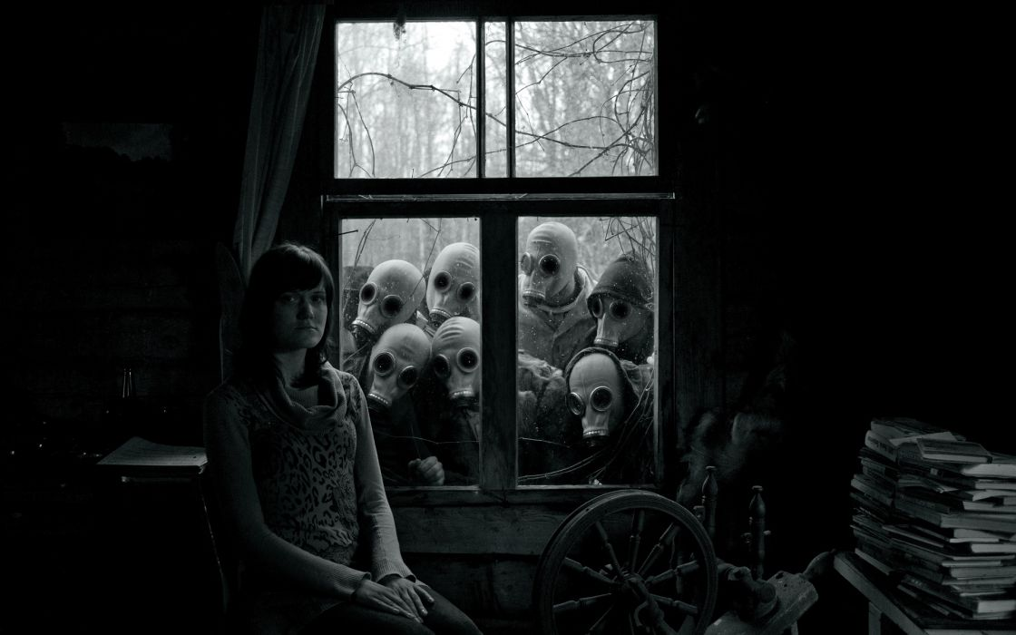 dark apocalyptic apocal gas mask scary creepy spooky black white people window gothic mood emotion room alone sad sorrow glasses goggles horror trees light shadow books women females girls situation wallpaper