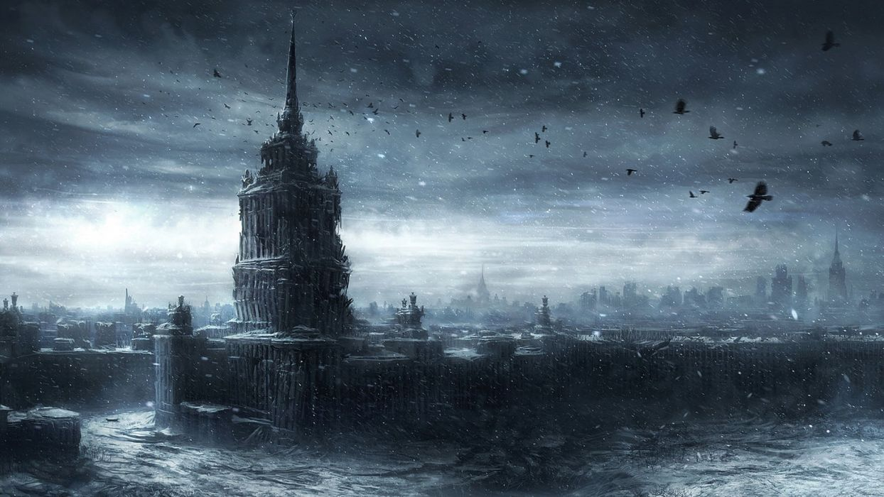 jonasdero_deviantart_com Moscow Ruins post apocalyptic apocalypse destruction war nuclear bomb invasion dark horror evil creepy spooky scary smoke haze storm rain drops sky clouds devastation architecture buildings skyscrapers ruins decay urban cities sky wallpaper