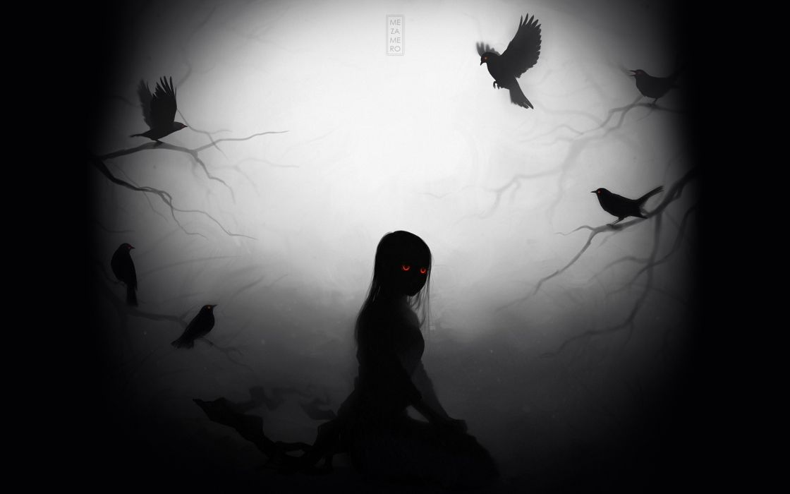 Viktoria Voronko Mezamero anime fantasy dark demon zombie undead horror evil scary creepy occult crow animals birds ravens gothic death possessed alone mood emotion eyes face glow moon light flight Silhouette wallpaper