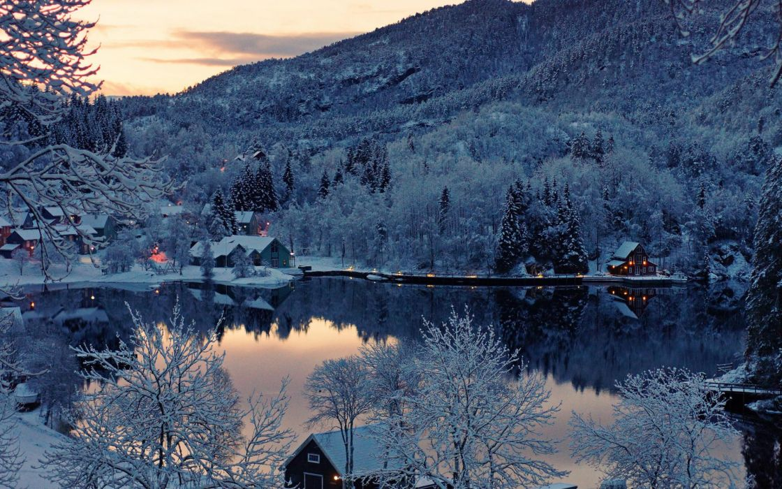 Norway nature landscapes lakes water reflection hills mountains trees forest sunset sunrise scenic winter snow seasons architecture buildings houses resort lights wallpaper
