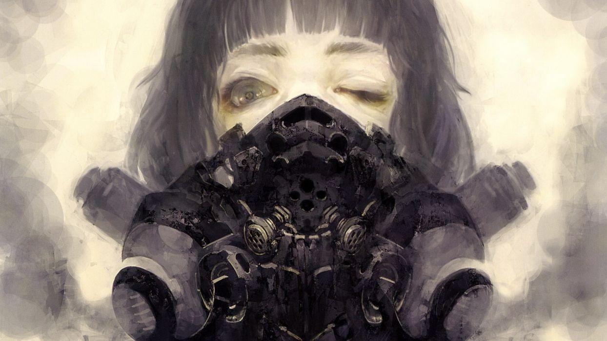 cyberpunk anime gas masks cyberpunk short hair realistic gray eyes wink Industrial respirator sci fi science fiction dark creepy apocalypse post apocalyptic wallpaper