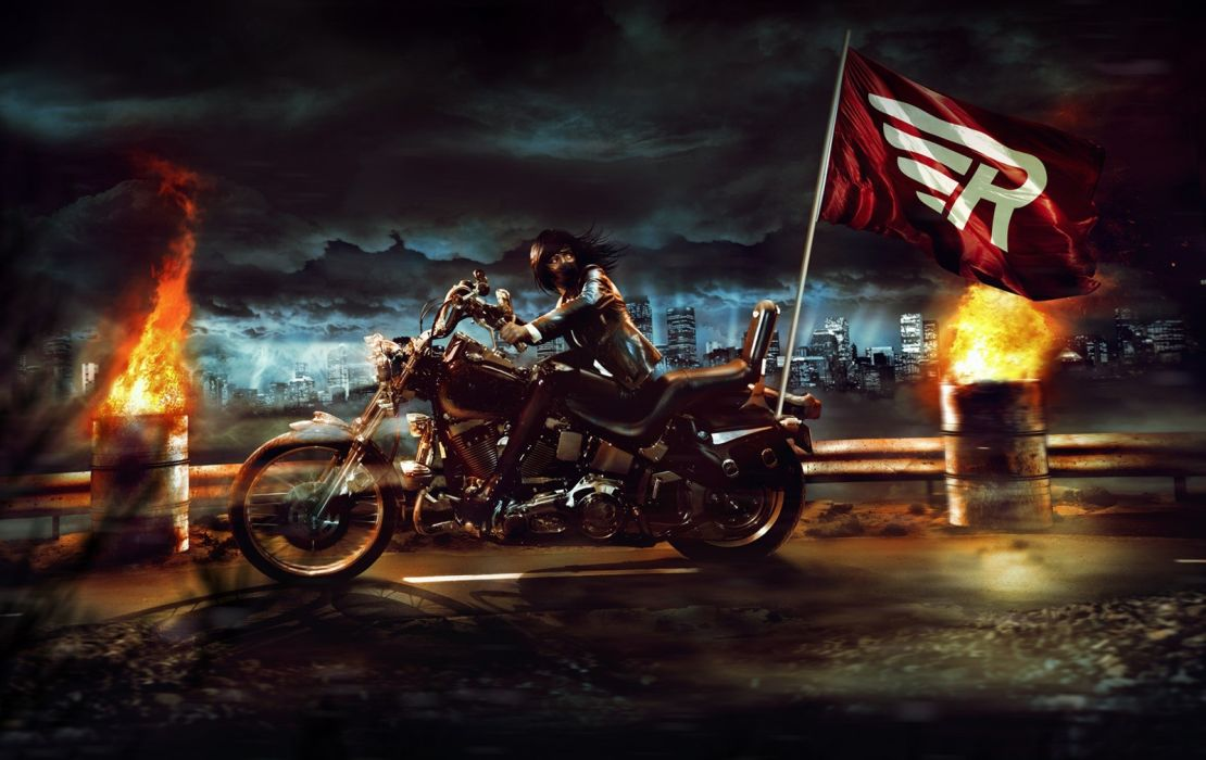 vehicles motorcycles motorbikes bikes cg digital art manipulation dark fire flames cities architecture skyline cityscape scapes roads flags symbols sky clouds moonlight light motion chase action women females girls asian oriental wallpaper