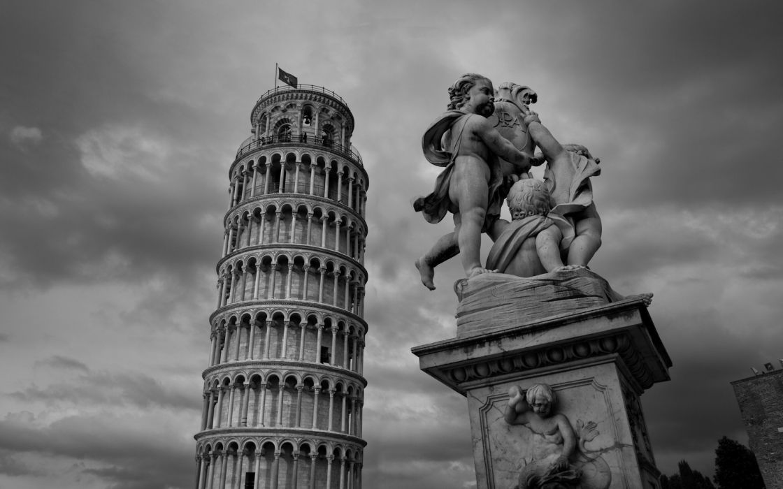 leaning tower of pisa italy monument statue black white tower architecture buildings artistic angels babies children sky clouds tourist history wallpaper
