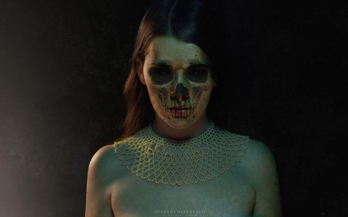 dark horror art artistic manipulation cg digital macabre zombie demon skull evil scary spooky creepy necklace jewelry vampire women females girls gothic brunettes faces halloween wallpaper