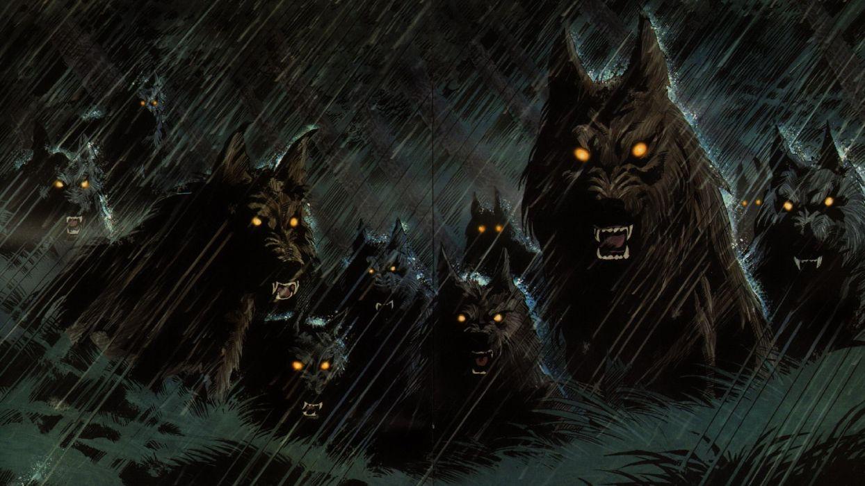 dark werewolf hellhound animals wolf wolves fangs demons evil fantasy predator horror creepy spooky storm rain halloween wallpaper