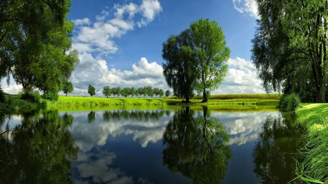 nature landscapes lakes water reflection pond shore grass filds trees spring seasons sky clouds sunlight green color contrast wallpaper