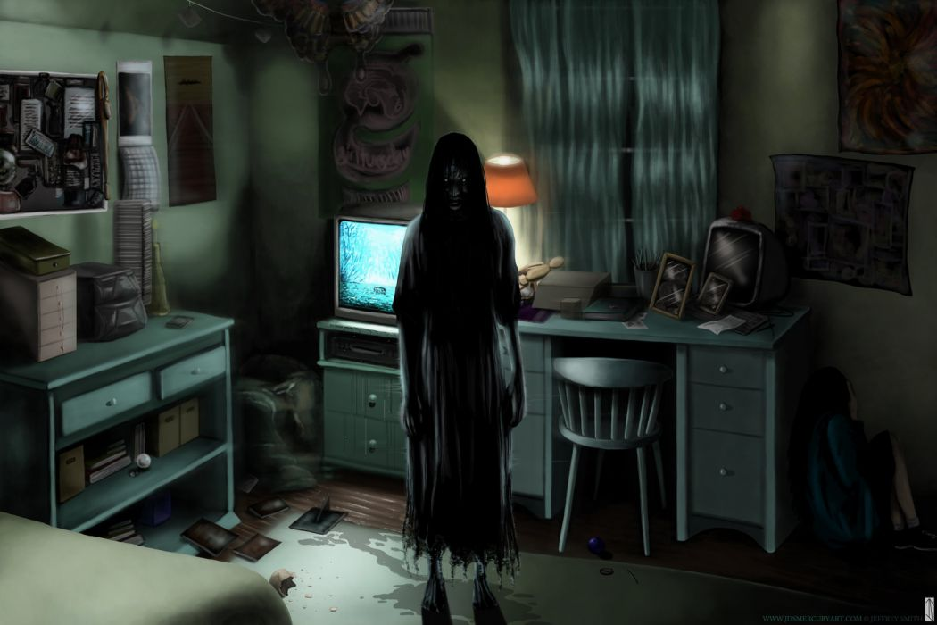 The Ring horror scary creepy spooky ghost dark evil art artistic video games rooms shadow silhouette fantasy halloween wallpaper
