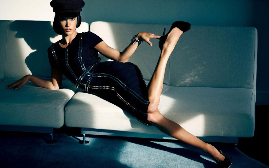 Alessandra Ambrosio style fashion models brunettes legs dress hat women females girls babes sexy sensual wallpaper