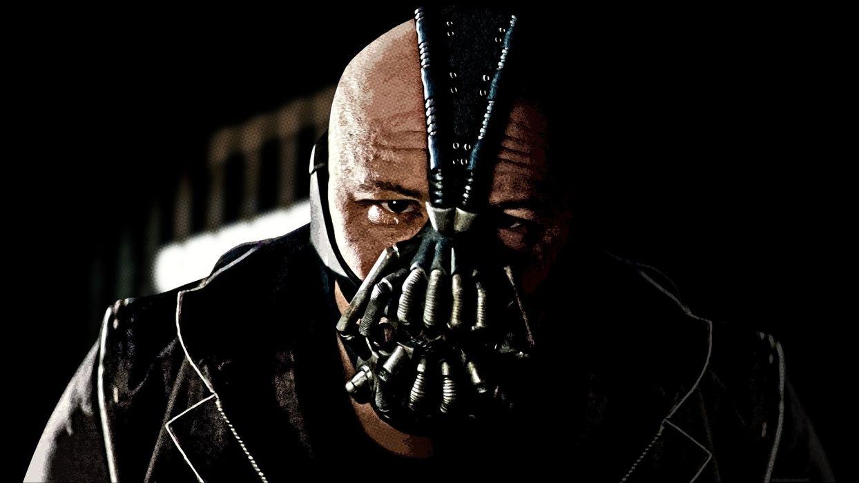 The Dark Knight Rises batman bane movies comics video games mask face evil villian eyes stare pov men males people scary creepy spooky wallpaper