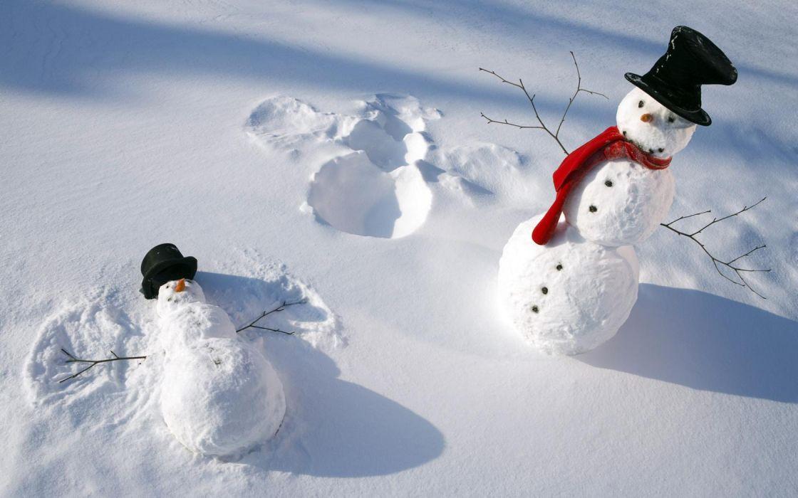 holidays christmas winter snowman snow angels seasonal wallpaper