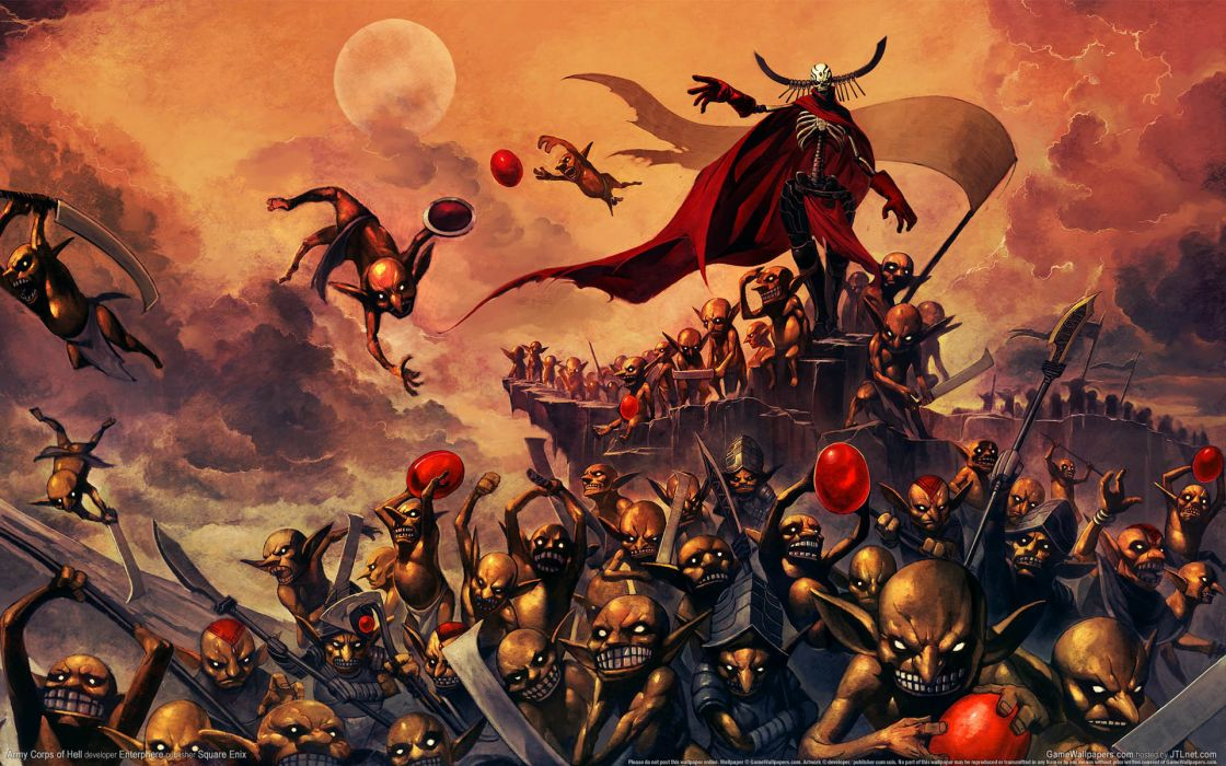 Army Corps of Hell video games dark demons ghoul creatures monsters army evil color weapons flight fly wings cape art creepy spooky scary wallpaper