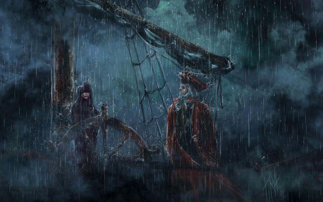 Pirates fantasy storm rain drops wet water unifirm dark scary creepy spooky vehicles ships boat art artistic women females girls skull skeleton sail horror wallpaper