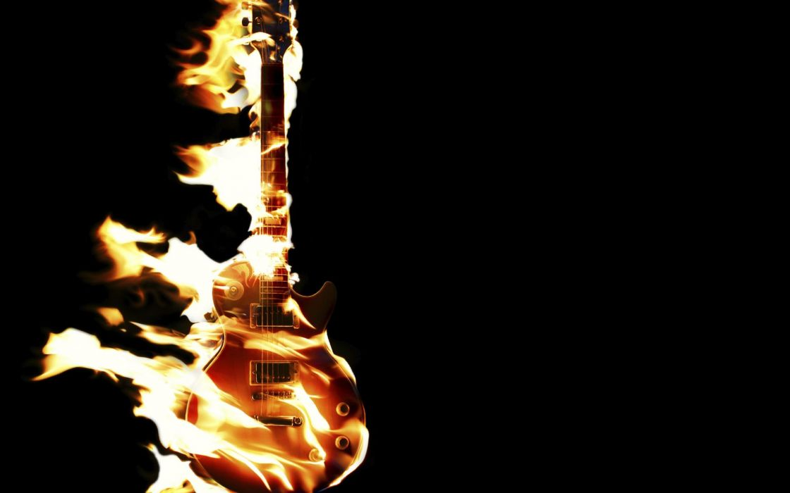 entertainment music guitars strings musical instuments fire flames wallpaper