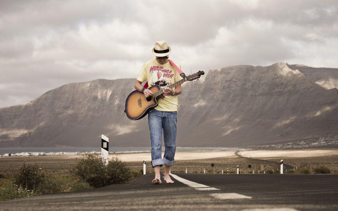 entertainment music guitars strings musical instuments men males roads landscapes mountains wallpaper