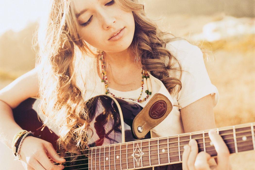 entertainment music guitars strings musical instruments women females girls babes models brunettes wallpaper