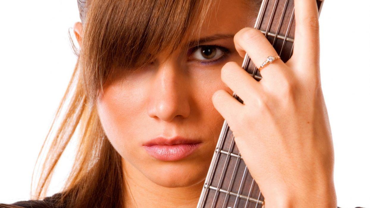 entertainment music guitars strings musical instruments women females girls babes face eyes stare pov brunettes models wallpaper