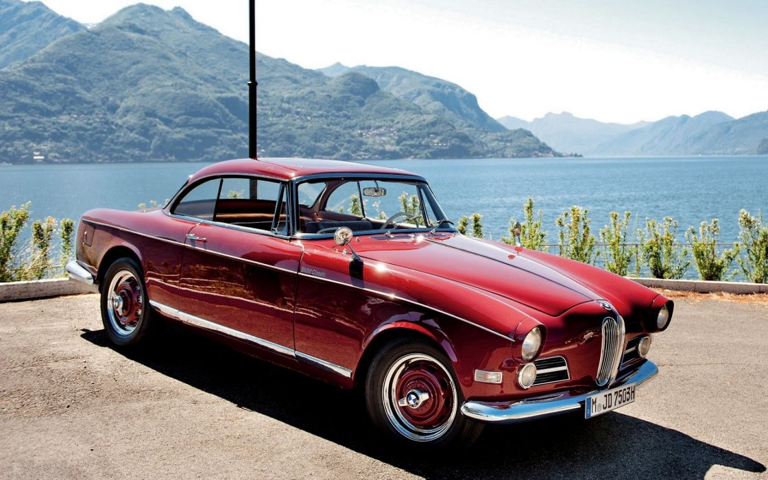 1956 BMW 503 Coupe retro vehicles cars auto old classic wheels red chrome scenic mountains hills lakes water bay  wallpaper