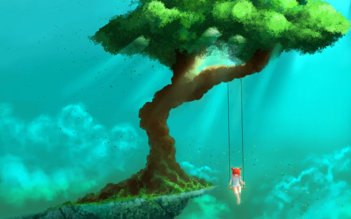 fantasy dream mood emotion wonder swing situation art artistic paintings airbrushing children girl color magic surreal psychedelic landscapes mountains hills trees leaves sky clouds sunlight sunbeams beam wallpaper