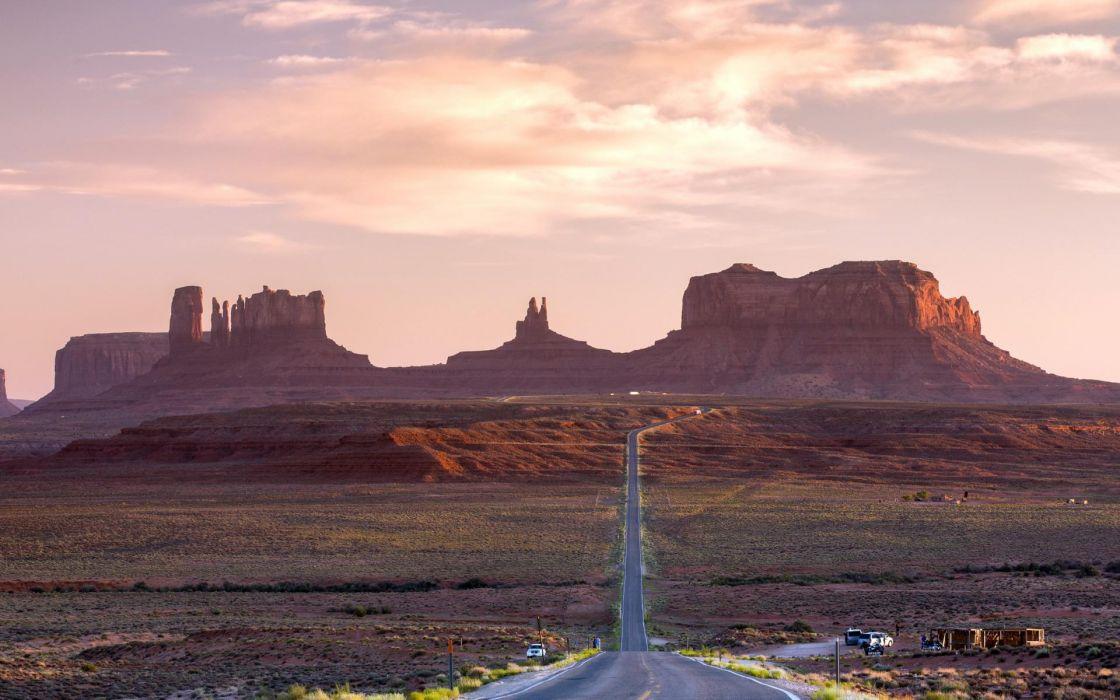 nature landscapes desert fields roads cars architecture buildings hills mountains sky clouds sun sunlight plants wallpaper