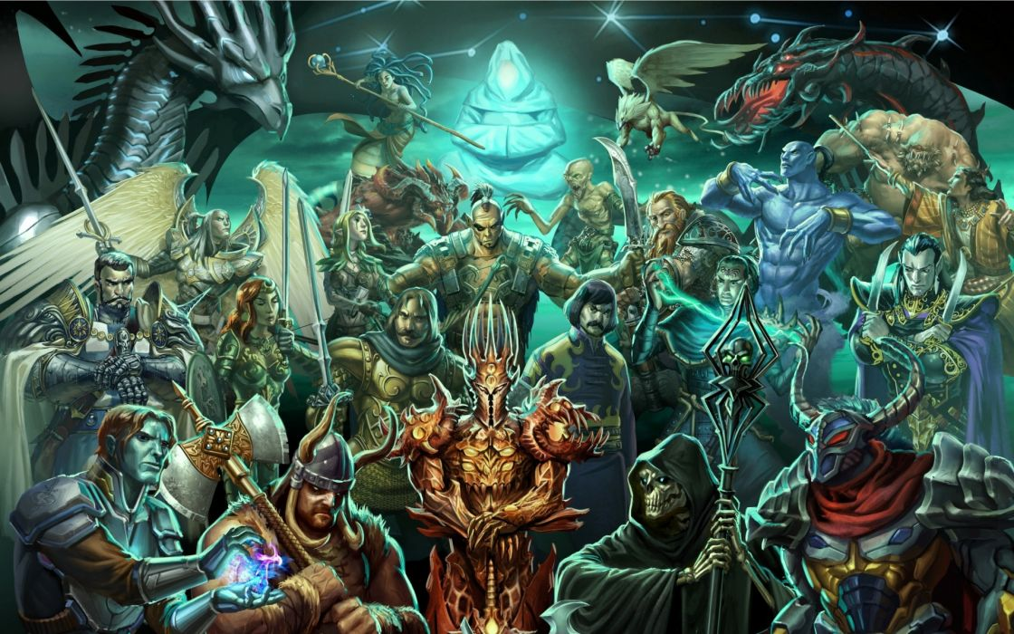 Heroes Of Might And Magic video games fantasy dark weapons sword lance spear dragons monsters creatures detail wallpaper