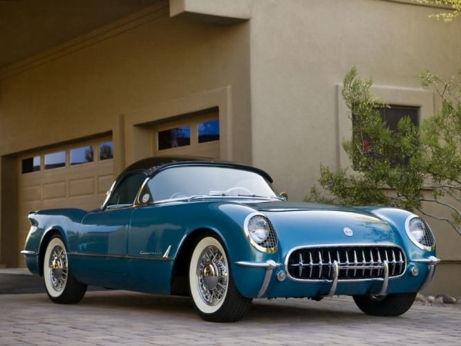 1954 Chevrolet Corvette vehicles cars chevy retro old classic wheels blue grill chrome muscle wallpaper