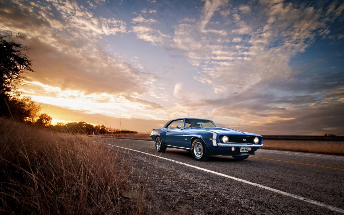1969 Chevy Camaro SS vehicles cars tetro classic old roads sunset sunrise sky clouds lights wheels chevrolet auto wallpaper