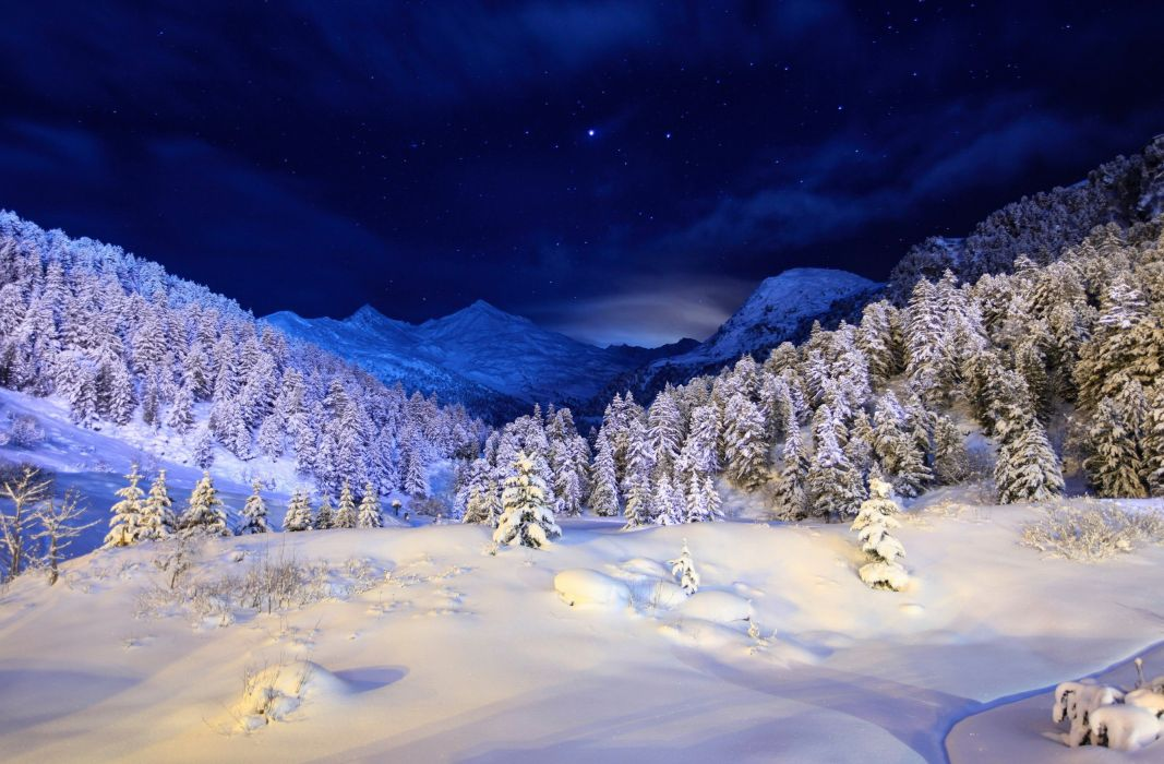 nature landscapes mountains trees forests winter snow seasons bright bluecold sky stars scenic clouds moonlight light wallpaper