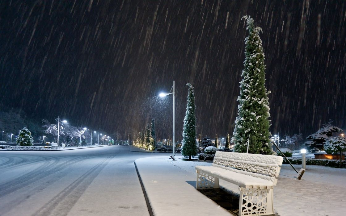 nature landscapes roads winter snow snowing bench night lights lamp post storm blizzard cities seasons wallpaper