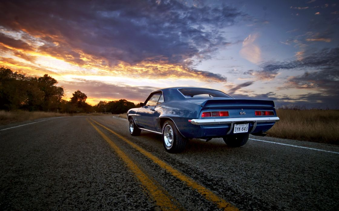 1969 Chevy Camaro SS vehicles auto chevrolet retro classic muscle wheels roads sunset sunrise sky clouds trees chrome stripes wallpaper