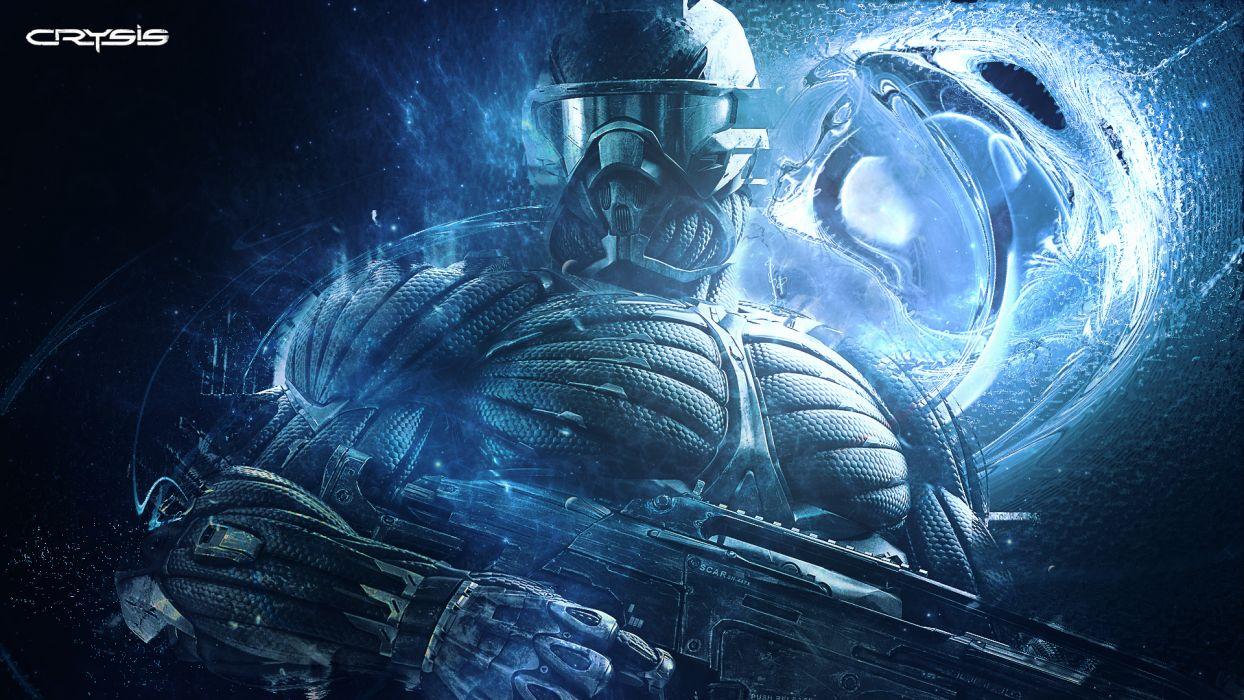 Crysis video games sci fi science fiction uniform armor mask glassrd goggles art weapons guns rifles machine mech tech warriors soldiers wallpaper