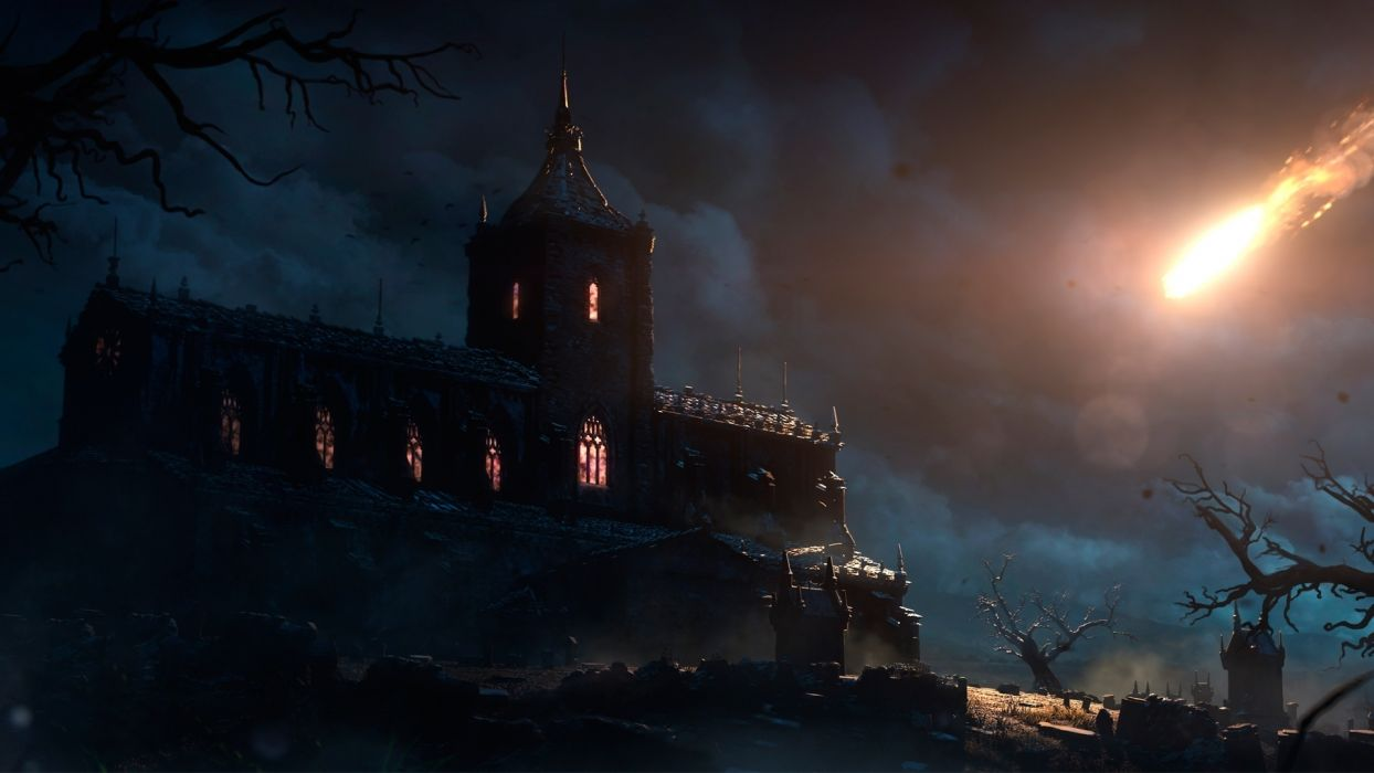 Diablo 3 The Fallen Star Tristram Cathedral video games church horror haunted fire flames comet asteroid meteor cemetery grave yard headstone halloween creepy spooky scary horror sky clouds storms window lights fantasy  wallpaper
